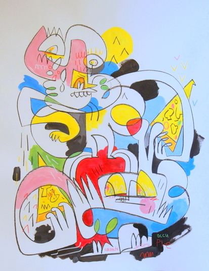 a recent painting by Jon Burgerman