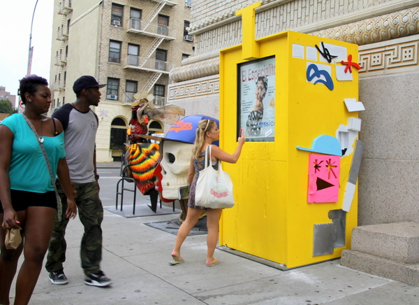 Showpaper boxes by Swoon & Ryan Doyle, Leon Reid IV & Noah Sparkes, and Cassius Fouler & Faust find their home outside of BAM