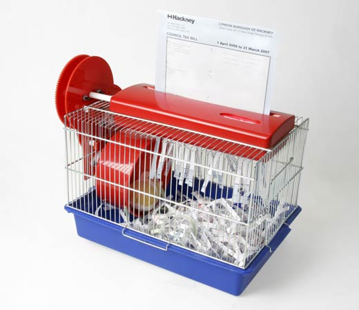 [Source: http://technabob.com/blog/2007/04/10/the-hamster-powered-paper-shredder/]