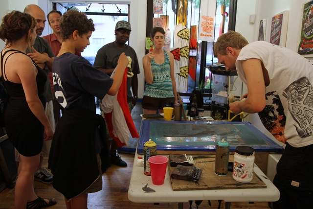 Silkscreening at Pandemic (photo by Becki Fuller)