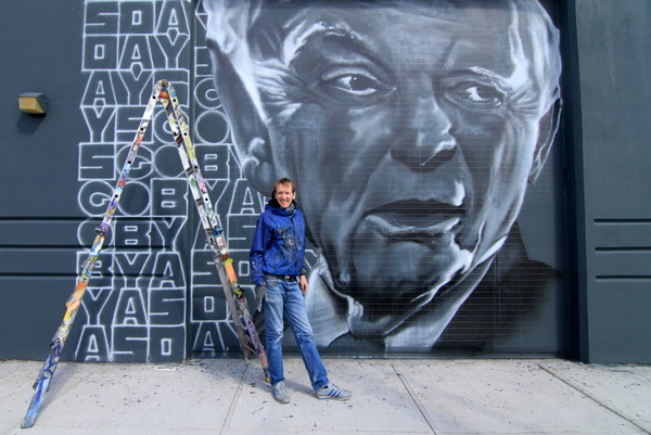 ECB in front of his work (photo by Luna Park)